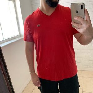 Lacoste Red V neck Size 5